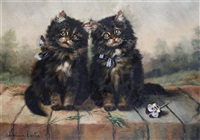 two kittens seated on a wall by adrienne lester