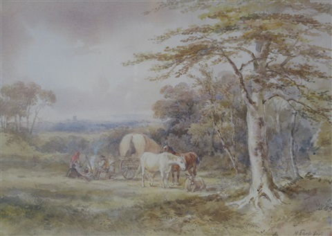 a travellers encampment by henry earp