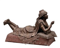 le secret d'odalisque, spelter statue by louis hottot