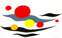 composition with clouds and spheres by alexander calder