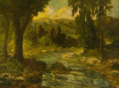 stream through a spring landscape by ralph davison miller