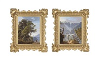 a huntsman at a mountainous torrent (possibly tivoli) (+ a huntsman on a riverside track; 2 works) by michelangelo pacetti