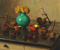 still life with chestnuts and a bouquet of flowers by wilhelm andersen