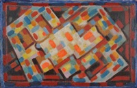 composition orange, bleu, rouge et bois naturel by albert voisin