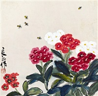 龙船花<br>ixora and bees by qi liangsi