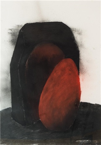 red black egg and space by david nash