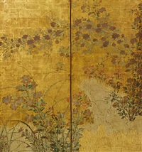 two-fold screen with summer flowers and grasses by japanese school-rimpa (18)