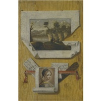a trompe l'oeil still life with a sketch of a landscape and saint apollonia by andrea domenico remps