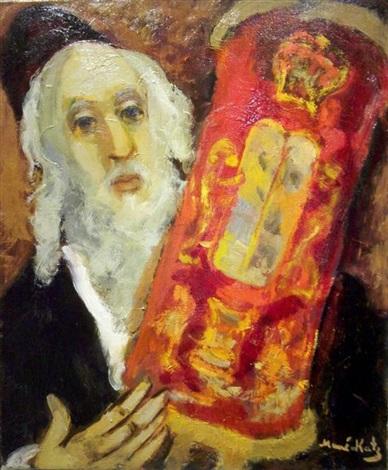 rabbi holding the torah scroll by mané katz