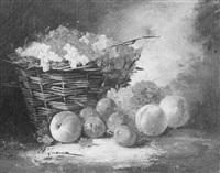 corbeille de groseilles, pêches et prunes by charles leroux