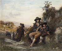 the young shepherd's music lesson by arnoldo corrodi