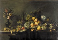 still life of peaches and grapes in a porcelain dish, a partly peeled lemon, an open pomegranate and loose cherries, along with dead game, oysters and hazelnuts, all arranged on a partly draped table by michiel simons