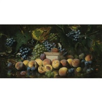 still life with peaches, plums and grapes by joseph decker