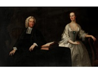 portrait of the reverend herbert taylor of bifrons, kent (1698-1765) and his wife mary, half length, seated in an interior by thomas hudson