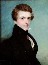 mr davidson, wearing blue coat, white waistcoat and black stock by frederick cruickshank