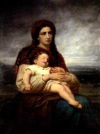 mutter mit schlafendem kind vor weiter landschaft by theodor köppen