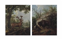a stag in a wooded landscape (+ a musk ox in a wooded landscape; pair) by georg adam eger