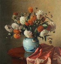 still life with georgina in a chinese porcelain vase by wilhelm andersen