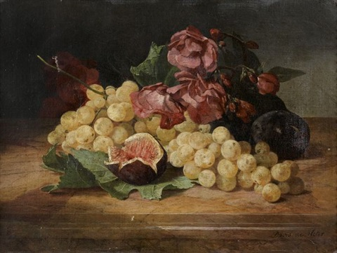 natures mortes aux raisins figues et fleurs pair by david emile joseph de noter