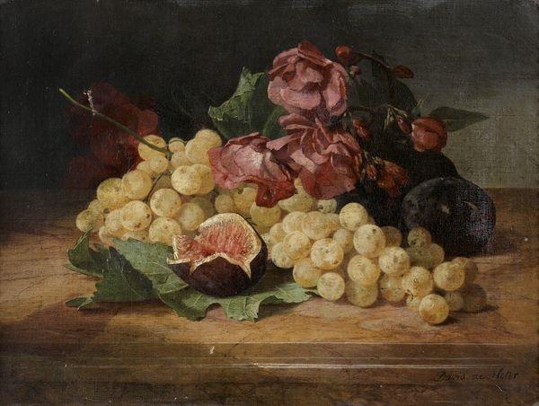 natures mortes aux raisins figues et fleurs pair by david emile joseph de noter