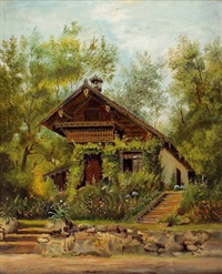 waldhaus (+ hirschbahn am jasshof im tristingtal bei wien, verso) by louise lucas