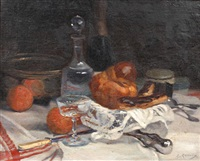 still life with bread, fruit, pastries and a decanter on a table by jules ernest renoux