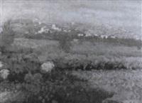campo de amapolas con pueblo al fondo by domingo soler gili
