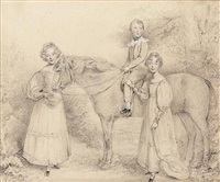 a family group: a young boy, seated on a horse, his sisters standing beside them, one with her hand on his knee, a hat trailing from her other hand, the other holding a basket beside the horse's head by stephen catterson smith