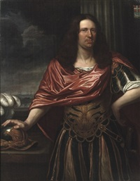 portrait of engel de ruyter, three-quarter-length, dressed as a roman general in an antique costume with a red wrap, standing before a curtain, his right hand resting on his helmet, a seascape beyond by jan de baen