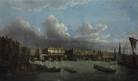 an extensive view of the thames and the city of london with old london bridge from the east the church of st magnus and the monument beyond by samuel scott