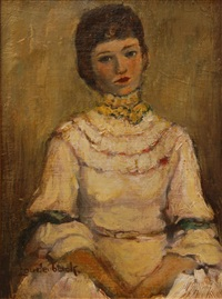 portrait of a woman in white dress by walt louderback