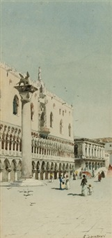 figures promenading before the doge's palace, venice by eugenio benvenuti