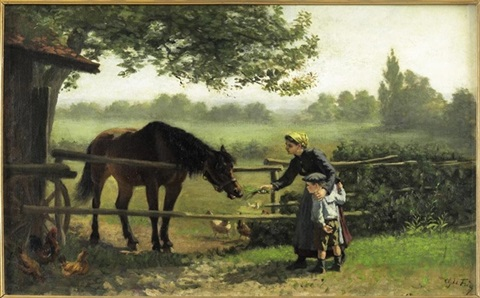 young girl feeding a horse by charles edouard frère