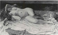 baigneuse assoupie au bord de la mer by auguste (maurice françois giuslain) léveque