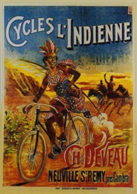 cycles l'indienne - ch. deveau, neuville st. rémi près cambrai by posters: sports - cycling