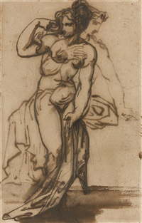 femme au bain (+ femme nue assise, verso) by théodore géricault