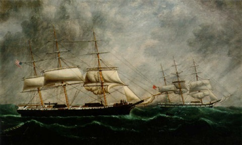 the american clipper caravan rendering assistance to a british full rigger in mid atlantic by william gay yorke
