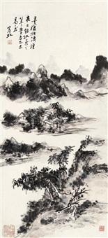 墨山清水 立轴 设色纸本 by huang binhong
