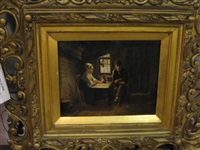 interior genre scene with a couple seated at a table by jan ernst de groot