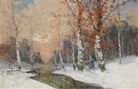 winterwald mit reisigsammler by georg fischhof