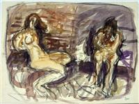 zwei sitzende weibliche akte by horst leifer