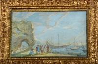 scène de plage avec des marchands et des bateaux ancrés by johann wilhelm baur