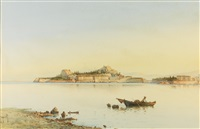 the venetian fortress on the headland of corfu town by spyridon scarvelli