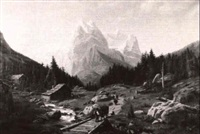 alpine scene with figures and animals by henry lewis