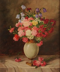 still life flowers in a vase by alois zabehlicky