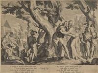 die begegnung zwischen moses und jethro, pl. 1 (from thronus iustitiae after j. uytenwael) by willem isaaksz swanenburgh the elder