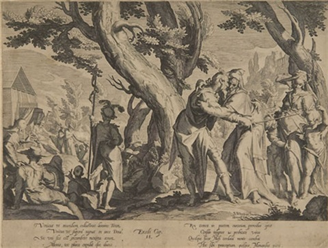 die begegnung zwischen moses und jethro pl 1 from thronus iustitiae after j uytenwael by willem isaaksz swanenburgh the elder
