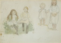 group of young girls and sketch of a girl (pair) by sophia rosamund praeger