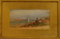 shore view with cows and sailboats by samuel lancaster gerry