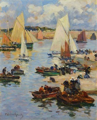 escena de puerto by fernand marie eugène legout-gérard
